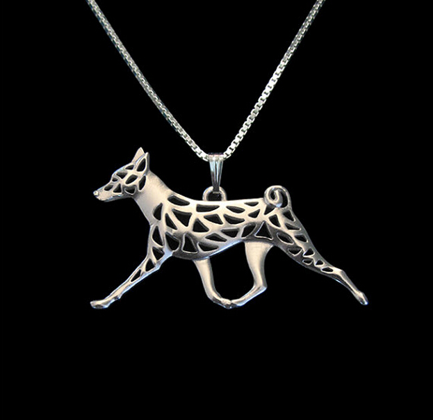 Gold & silver 1pcs Basenji Movement Necklace 3D Cut Out Dainty Puppy Dog Pendant Lover Memorial Pet Necklaces Pendants