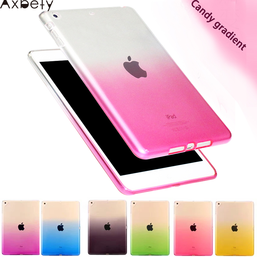 For Ipad Mini 1 2 3 Slim Case Candy Transparent Gradient TPU Cover For Ipad Mini 2 Case Clear Poly Gel Shock Resistance Back mercury goospery shimmering powder tpu gel case cover for iphone 4 4s white