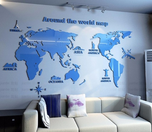 New Arrival Map Of The World Creative Household Office Acrylic 3d Three Dimensional Wall Stickers Living Room Bedroom Decoration Sale Up To 70 Stickersmegastore Com