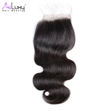 AILUXY HAIR BEAUTY Brazilian Body Wave hair Swiss Lace Closure 4*4, Virgin hair 8-18 inch(China)
