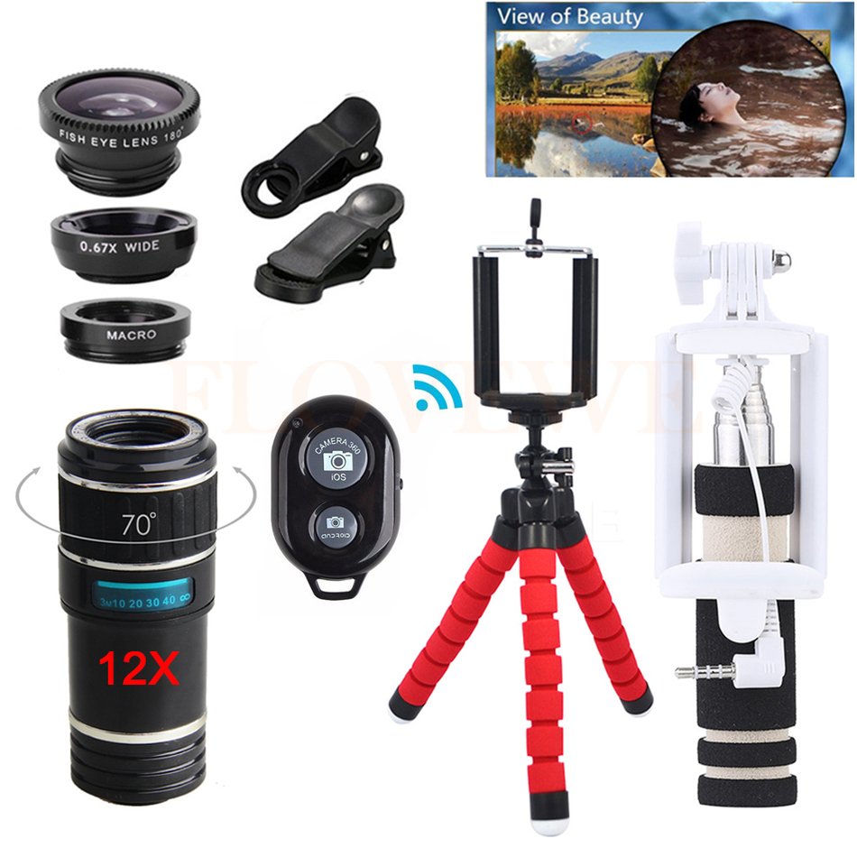 12X Telephoto Lentes Zoom Lens With Tripod Clips Shutter Macro Fisheye Wide Angle Lenses For Huawei P7 P8 P9 P10 Phone Lenses