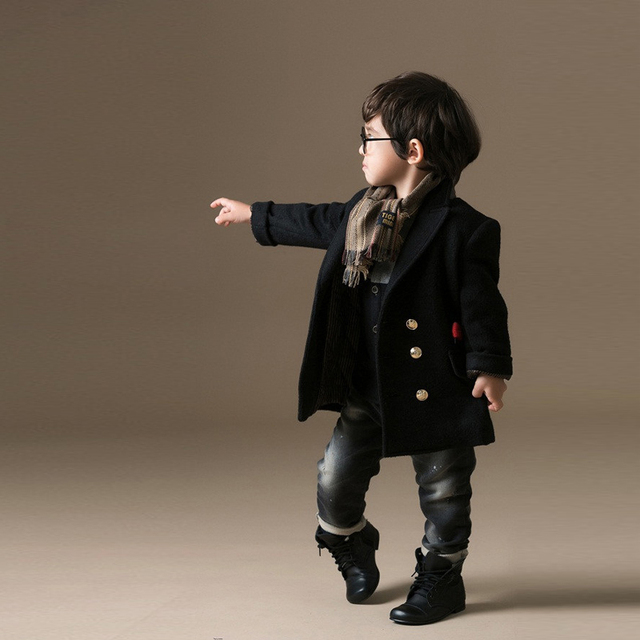 Boys Wool Winter Coats Double Breasted Navy Blue Khaki Kids Coat Boy Windproof Thick Warm Trench Jacket Outwearer TZ47