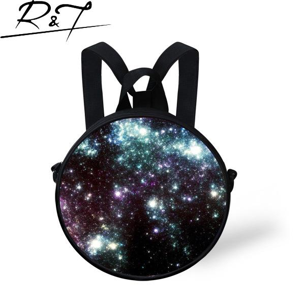 3D Starry Sky Series Round Kids Bags <font><b>Skyland</b></font> Dual-use Round Bags Stars Prints Casual Bags for Boys Girls Portable Daily Bags