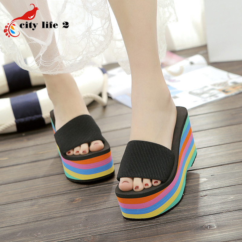 Platform Beach Slippers font b Women b font Summer New High Heels Shoes Zapatos Mujer Colorful