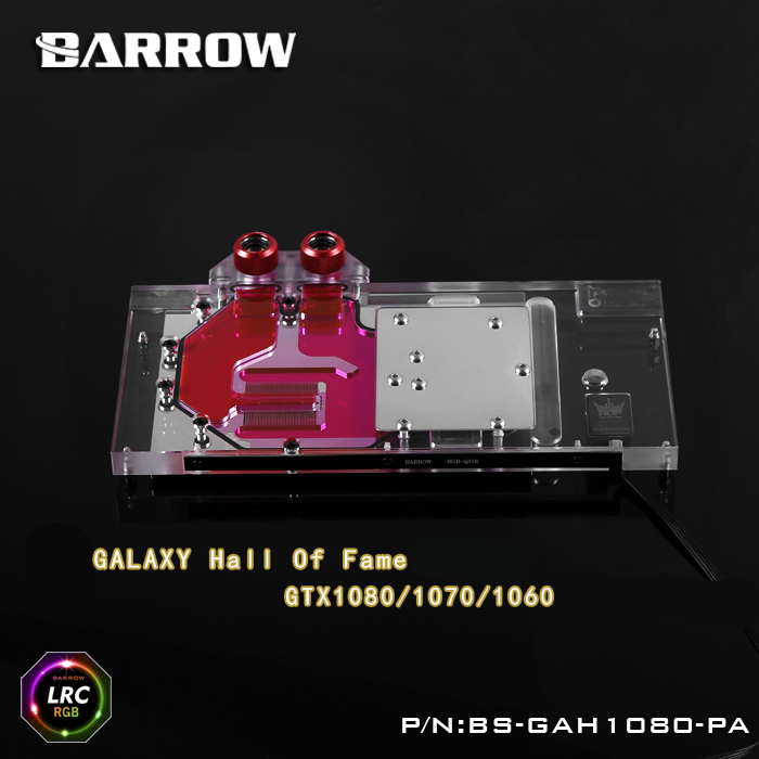 Barrow BS-GAH1080-PA LRC RGB v1/v2 Full Cover Graphics Card Water Cooling Block for Galaxy Hall of Fame GTX1080/1070/1060 computador cooling fan replacement for msi twin frozr ii r7770 hd 7770 n460 n560 gtx graphics video card fans pld08010s12hh