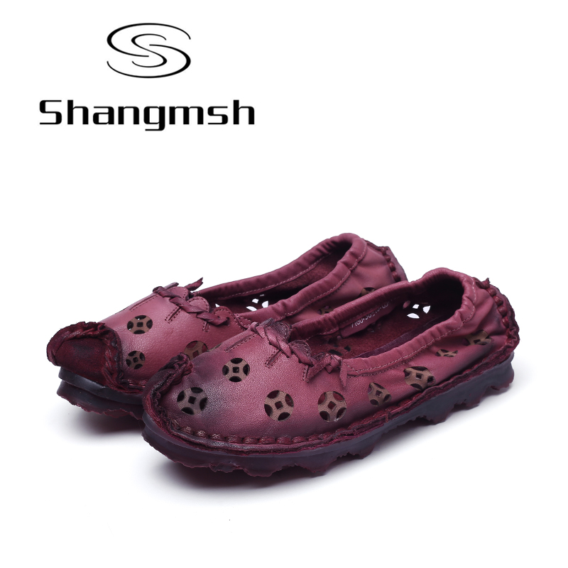 Shangmsh Autumn Women's Shoes Fashion Hollow Flats Genuine Leather Handmade Shoe 2017 New Casual Shoes Breathable Loafers shangmsh shoes for women 2017 new autumn