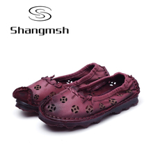 Shangmsh Autumn Women's Shoes Fashion Hollow Flats Genuine Leather Handmade Shoe 2017 New Casual Shoes Breathable Loafers
