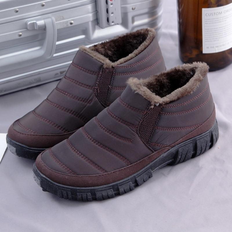 1f6b6b21fea Fourrure Bottes De Cheville Chaussures on Neige Mode marron bleu Slip Noir  Chaud D hiver Hommes ...