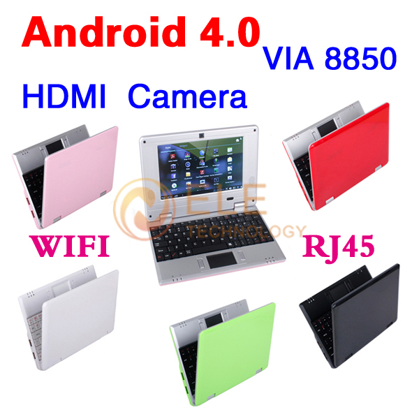 New 7 inch Android 4.0 VIA 8850 DDR3 512M 4GB HDD HDMI Camera WIFI RJ45 Russian keybaord Netbook Laptop Notebook