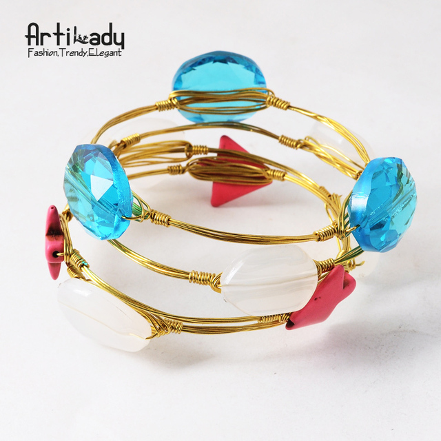 Artilady turquoise gold wire wrapped bangle bracelet stackable bangles for women jewelry wholesale bracelets bangle