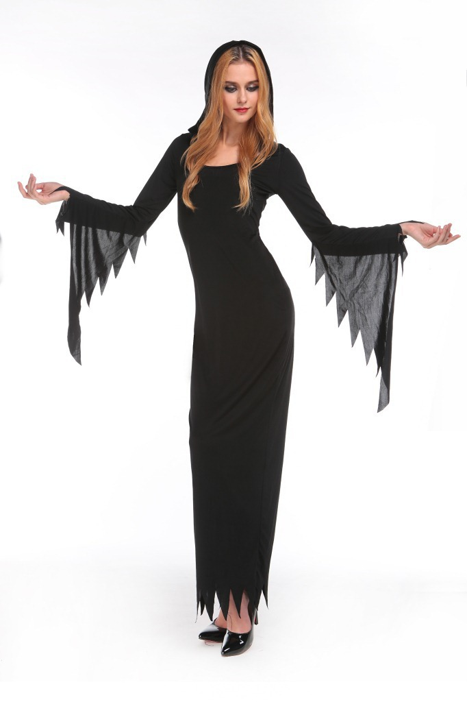 New Europe and the United States Halloween Witch Cosplay Costume Dark Ghost Dress Batwing sleeve Fancy Dress Decadence clothes