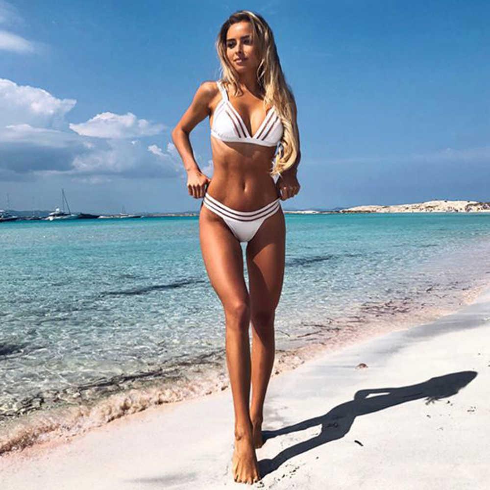 39b4a22d0f 2018 Sexy White Push Up Bikini Set Mesh Hollow Strappy Biquini Micro Bathing  Suit Swimsuit Thong