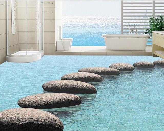 Floor Wallpaper Customized Wall Murals Water Stone Pebbles Tiles For Bathrooms