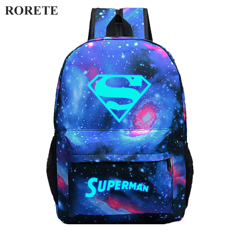 2016 Superman Luminous Printing Backpack Glow canvas backpack men women casual Backpack Star School Bags for
