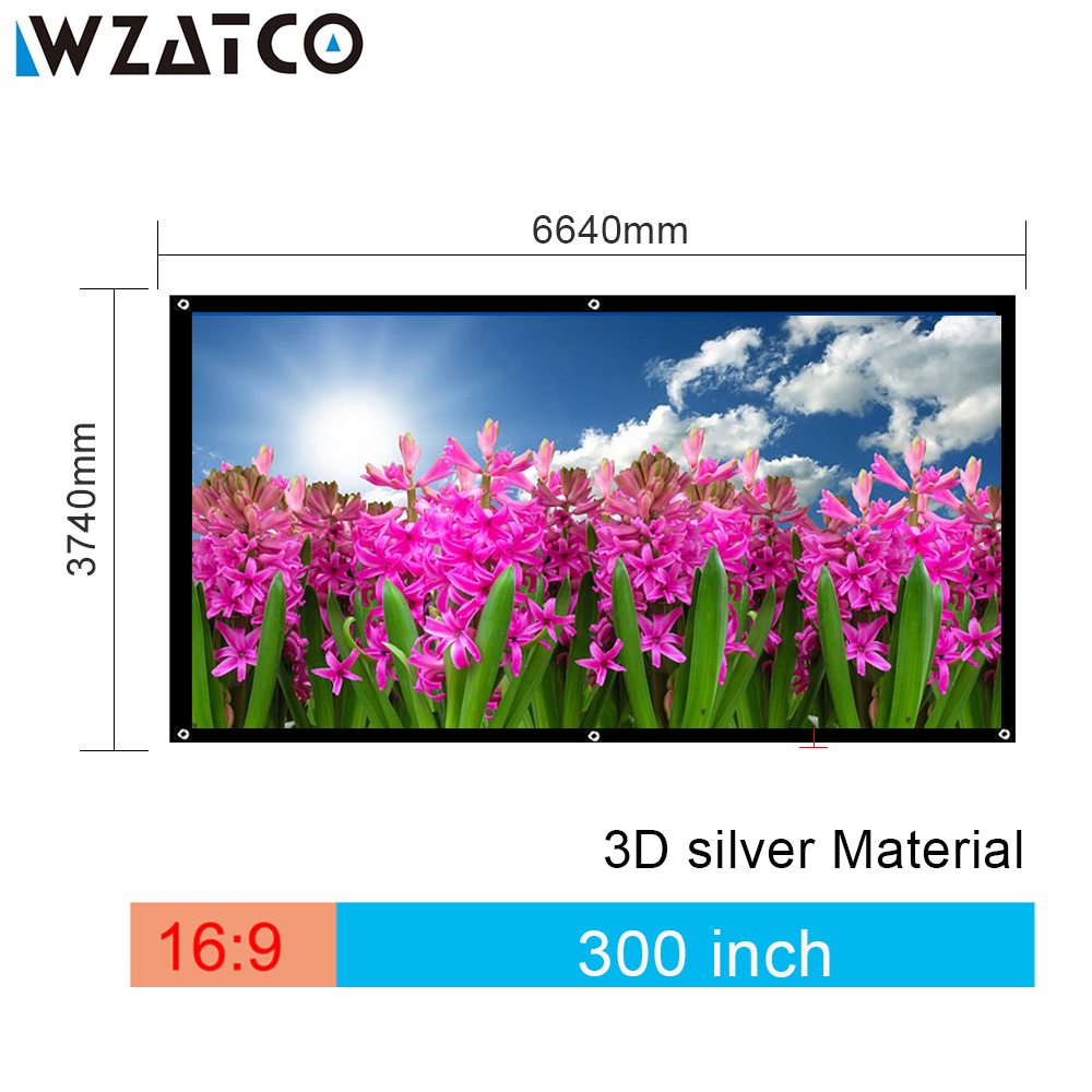 WZATCO High-Quality Large Size Screen 300 inch 16:9 3D Silver Projection Screen Fabric With Eyelets Easy Install Free shipping free shipping 120 inch 16 9 manual screen metallic