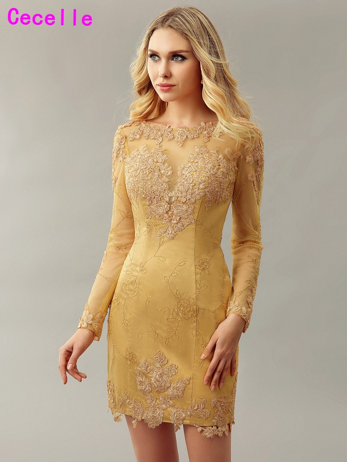 2019 New REAL Gold Sheath Fitted Lace Homecoming   Cocktail     Dresses   Long Sleeves Mini Informal Sexy Women Party   Dress   Real Photos
