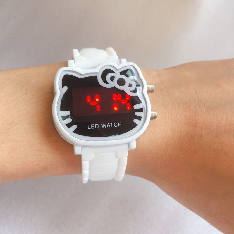 Hot Hello Kitty LED Children Watches 2019 Rubber Strap Child Watch Fashion Girls Kids Digital Wristwatch Casual Clock