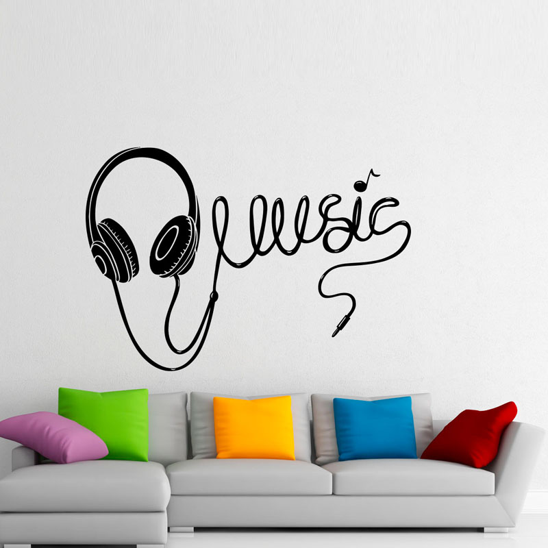 Zooyoo Music Headphones Wall Stickers Home Decoration Wall Art Decal