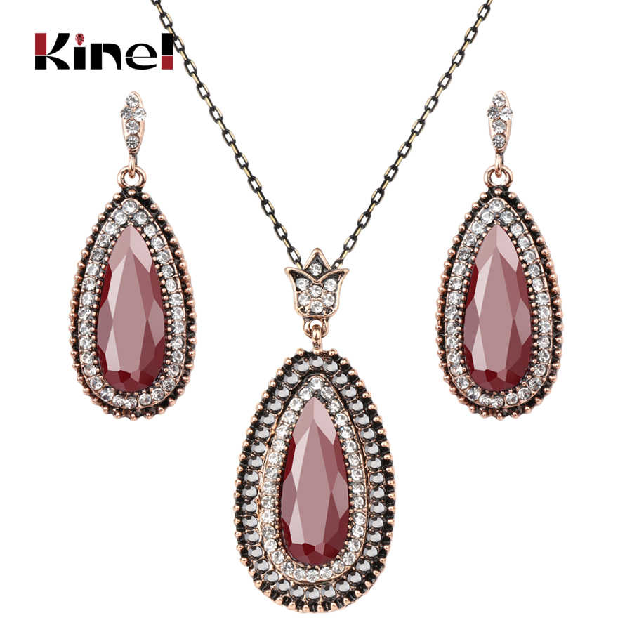 Kinel Fashion Turkey Jewelry Sets Red Water Drop Crystal Pendant Necklace And Earrings For Women Wedding Vintage Jewelry