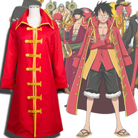 Fashion Anime One Piece Cosplay Costume Men Luffy New World Cloak Red Clothes for Halloween Party Dropshipping