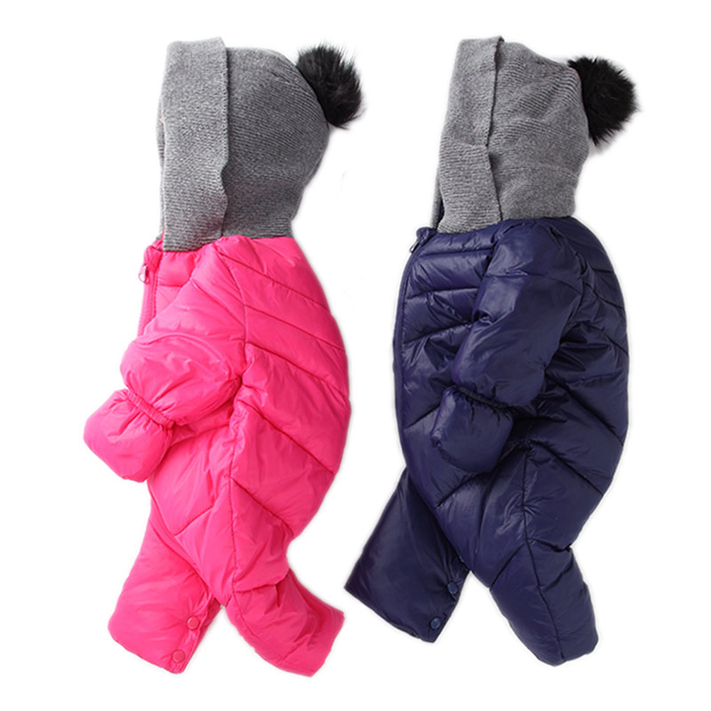 Newborn baby Romper Duck Down Cotton infant snowsuit hooded boys girls Jumpsuit waterproof overalls Winter crawling clothes puseky 2017 infant romper baby boys girls jumpsuit newborn bebe clothing hooded toddler baby clothes cute panda romper costumes