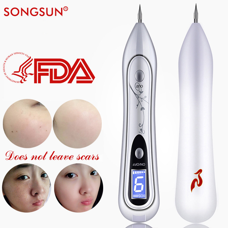2018 Newest Laser Mole Removal Tool LCD Laser Plasma Pen Spot Remover Freckle Tattoo Removal Pen Wart Removal Machine Skin Care