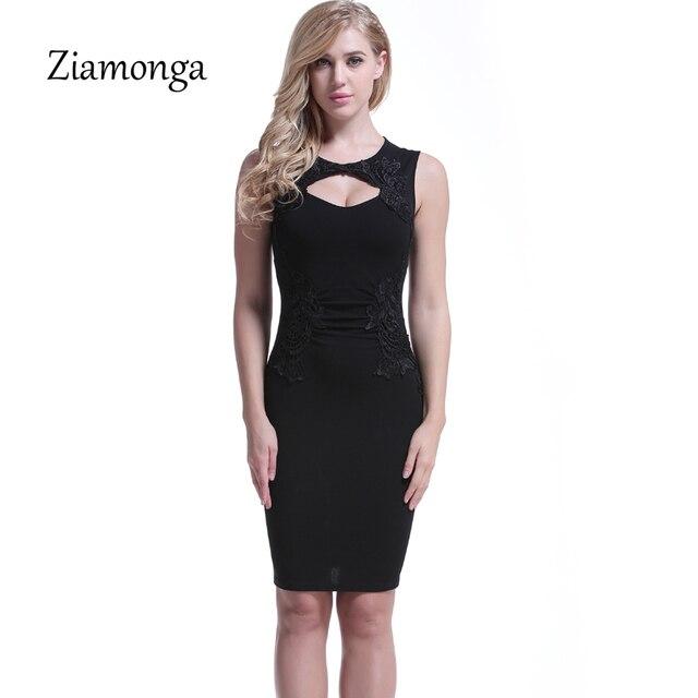 5c2fe9a50 Ziamonga mujeres vestido de verano sexy o-cuello sin mangas bodycon  vestidos 2018 MIDI negro