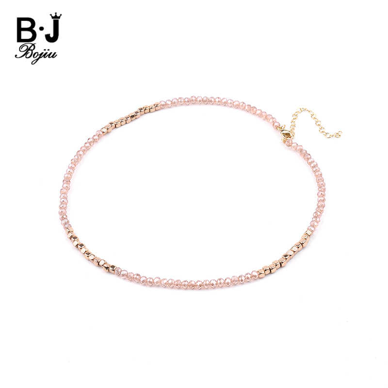 BOJIU 13 Colors Trendy Customized Tiny Crystal Acrylic Beads Choker Necklaces For Women NK1077
