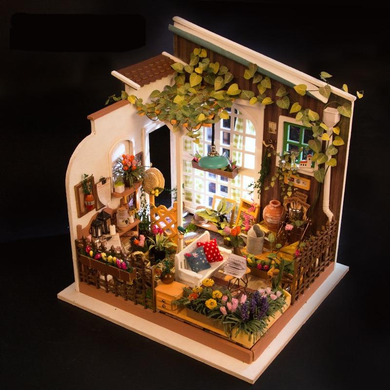 Новые Красивые 3D головоломка DIY кукольная Миниатюра ручной работы Мебель садовый домик Мебель модель комплект солнце кукольный домик игруш...