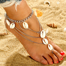 Fashion Multilayer Natural Shell Toe Rings Anklet Summer Beach Bohemia Barefoot Sandals On the Leg Anklet Foot Jewelry For Women chic multilayer small bells anklet for women