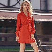5c83638f3bd1 Кнопка рубашка платье 2018 Новая мода осень-зима Для женщин с длинным  рукавом Стенд коралловый