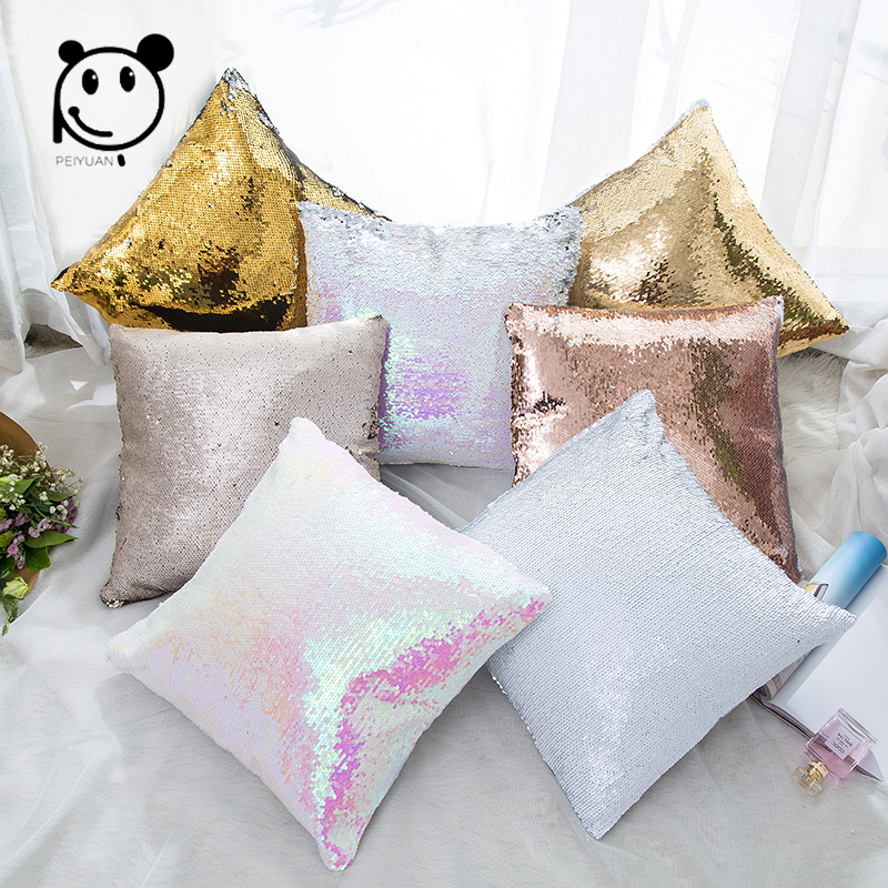 PEIYUAN Magical Throw Pillowcase Color Changing Reversible Pillow Case Pillow Cover DIY Mermaid White Gold Sequin Cushion Cover