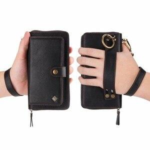 Image 5 - Carteira com pulseira para celular, bolsa de couro com capa para proteção de luxo huawei p30 pro lite nova4e funda etui saco do saco