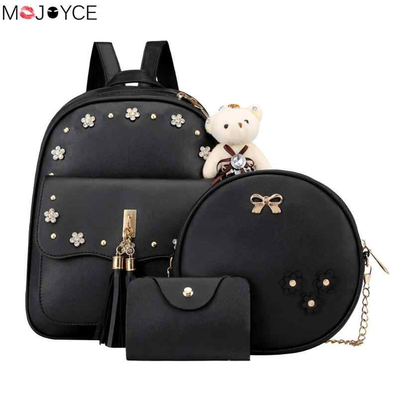 3 Pcs/set Fashion Women Backpack Preppy Style Rucksack Flower Print Chain Shoulder Bags Backpack with Card Bag Mochila