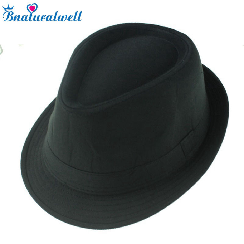 Bnaturalwell Black fedoras Gangsters hat Jazz cap Kids top hat Children Baby  fedora hat Fedoras Dicers Boys headgear 10pcs BH058 4787f8d9436