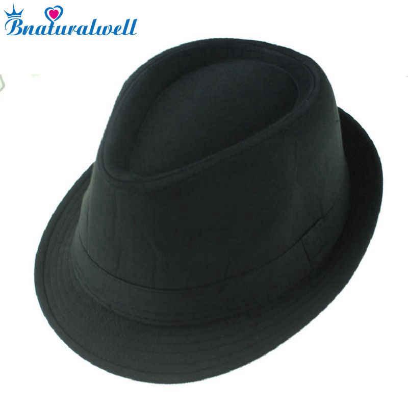695b5d87 Bnaturalwell Black fedoras Gangsters hat Jazz cap Kids top hat Children  Baby fedora hat Fedoras Dicers Boys headgear 10pcs BH058