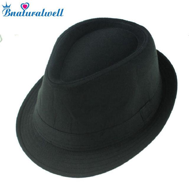 d767ab00c54bd Bnaturalwell negro Sombreros de fieltro gangsters sombrero del casquillo  del jazz mejores niños del bebé sombrero