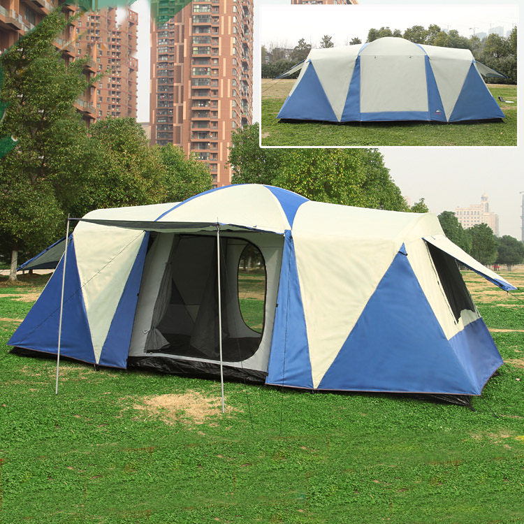 2017 upgrade double layer 2rooms 1hall anti- rain Sunshade outdoor camping tent camping in good quality and good price authentic august 4 8 person outdoor camping 1hall 1bedroom anti rain wind big traveling camping tent in good quality large space