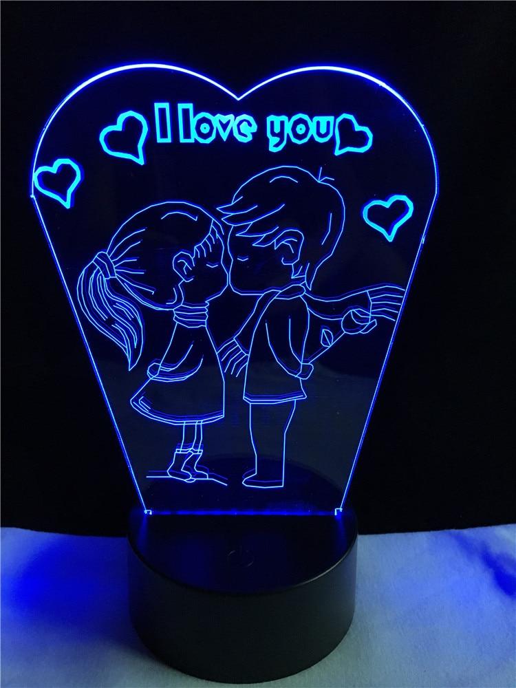 Romantic Kiss Kids I Love You 7 Colors Gradient Led Night Lights 3D Desk Table Lamp Wedding Decor Girlfriend Lover Couple GiftsG