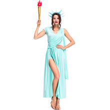 Umorden Colonial 4th of July Costumes Blue Sexy Statue Liberty Costume Greek Athena Goddess Cosplay Fancy Dress for Women