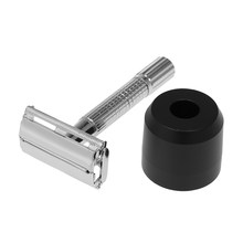 Metal Beard Razor with Stand Double Edge Safety Razor For Men Barber Kit Classic Razor Smooth Mustache Shaving Tool(China)
