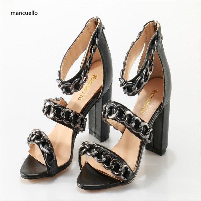 Mancuello Cadenas Correas Zapatos de Verano Mujer Sandalias Del Recorte Sandalias  Mujer Sexy Mujer Tacones Altos eaa75edd089a
