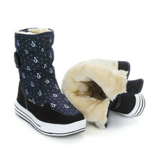 Navy children winter boots fabric penguin printing synthetic warm fur big size from 36 to 41 durable withstand wear free shippin