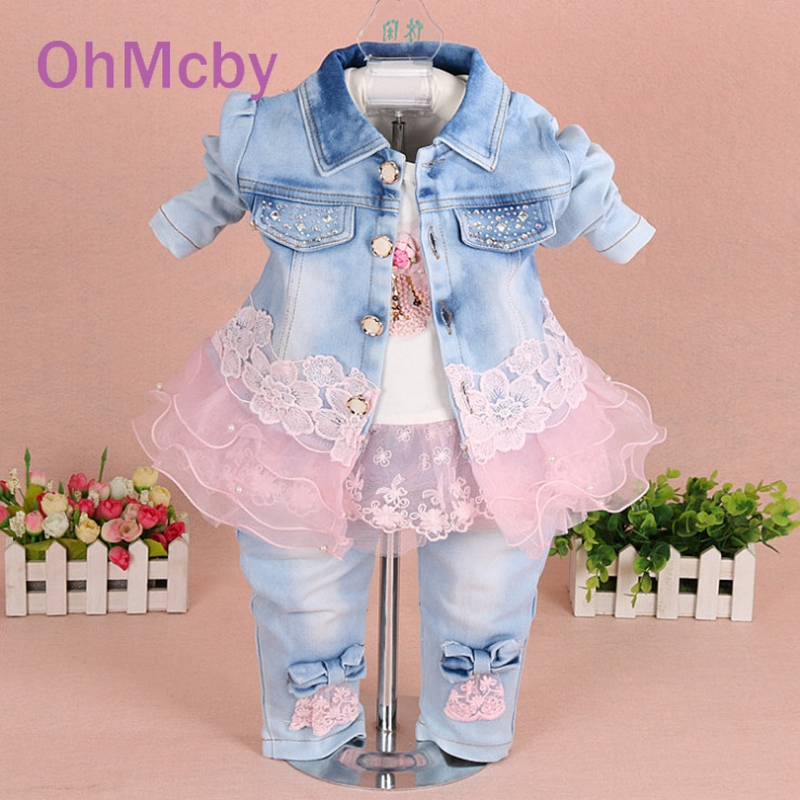 ФОТО OhMcby Spring Autumn Girls Quality Denim Jacket Clothing Sets 3pc Baby Girl Denim Sally Patchwork Clothes Sets Kids Clothes Sets