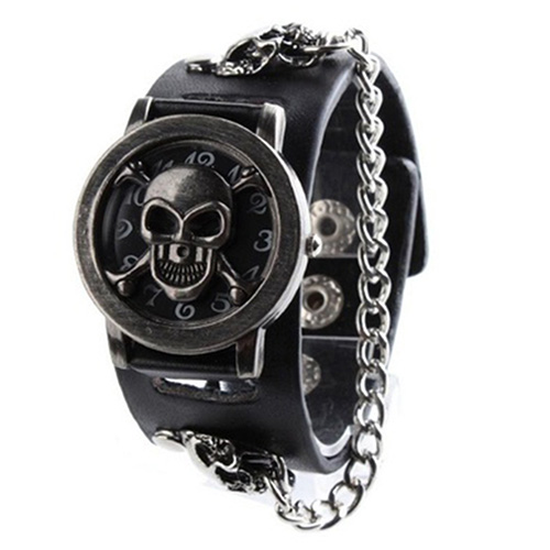 Men Fashion Punk Watch Rock Chain Skull Pattern Faux Leather Band Wristwatch free shipping claa101fp05 xg fit b101uan01 7 lcd led screen display for asus memo pad me302 me302c me302kl only screen no touch
