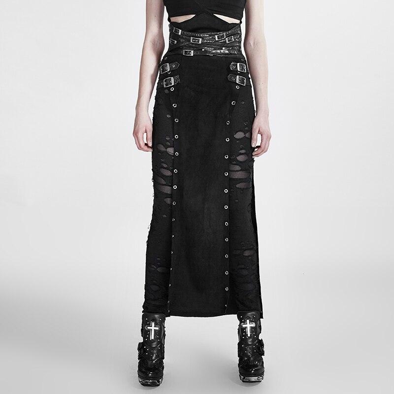 Punk Femme Guerrier Steampunk Gothique cuir noir pu jupes décontractées Scission Grande Taille Beau jupe longue
