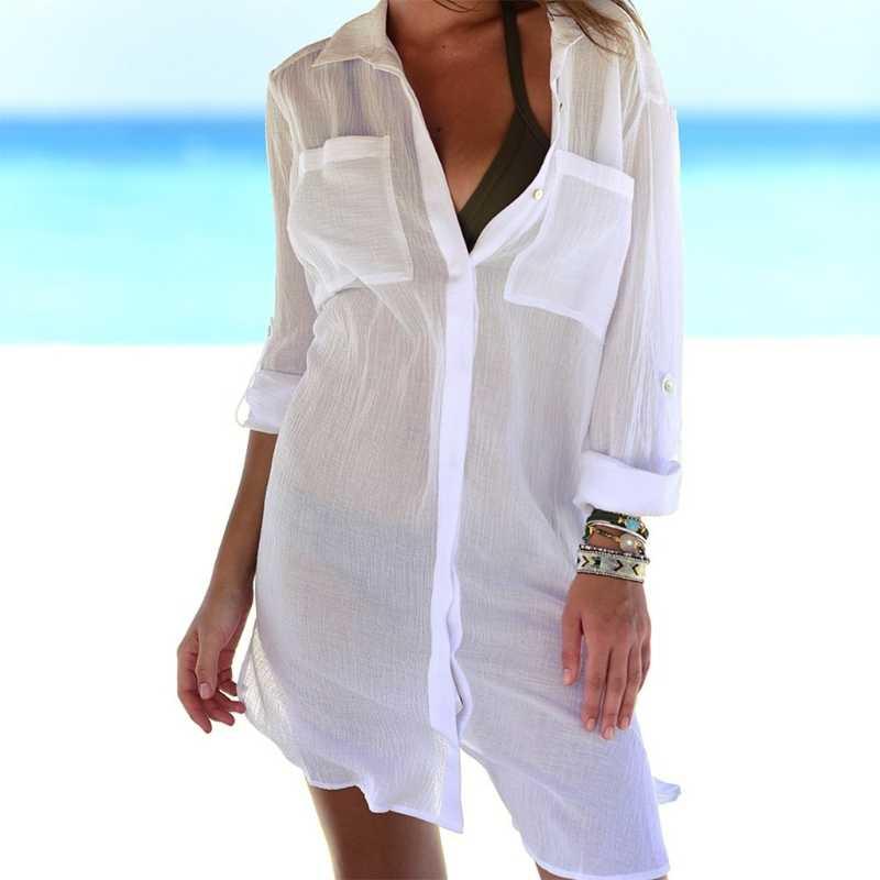 ce22eda94e25 KLV Женская пляжная рубашка тонкий купальник бикини накидка халат туника  рубашка ...