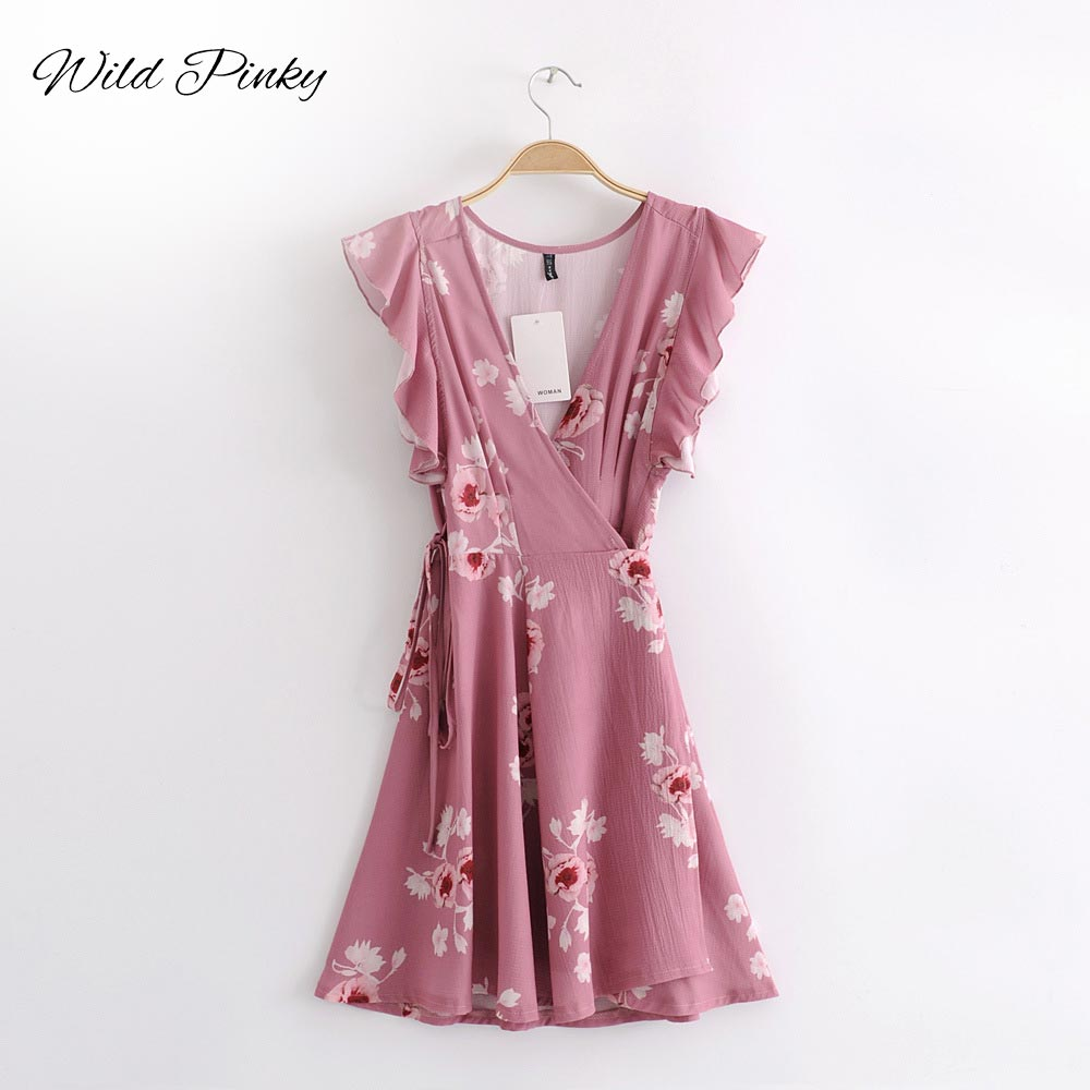 WildPinky Tie Up Bow Sashes Sexy V Neck Pink Women Mini Dresses 2019 Summer Floral Print Boho Beach Short Vestidos Female Dress in Dresses from Women 39 s Clothing