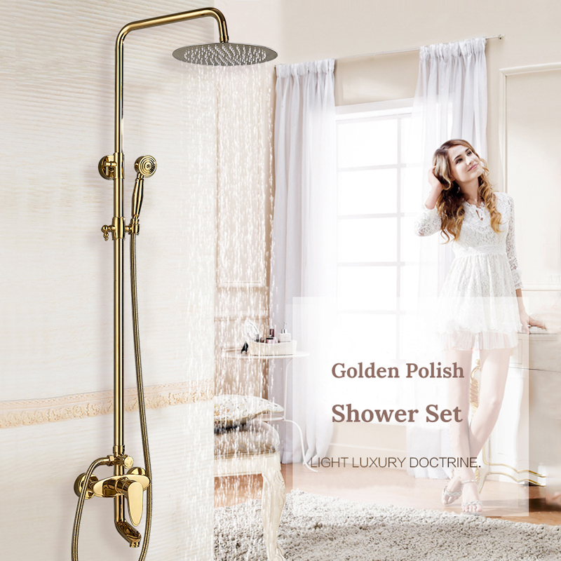 Bathroom Faucets Luxury Gold Brass Bathroom Faucet Mixer Tap Wall Mounted Hand Held Shower Head Bathtub Spout Shower Faucet Sets shinesia newly luxury gold polished brass 5pcs bathroom bathtub faucet swan spout with hand shower mixer 3 handles hot and cold