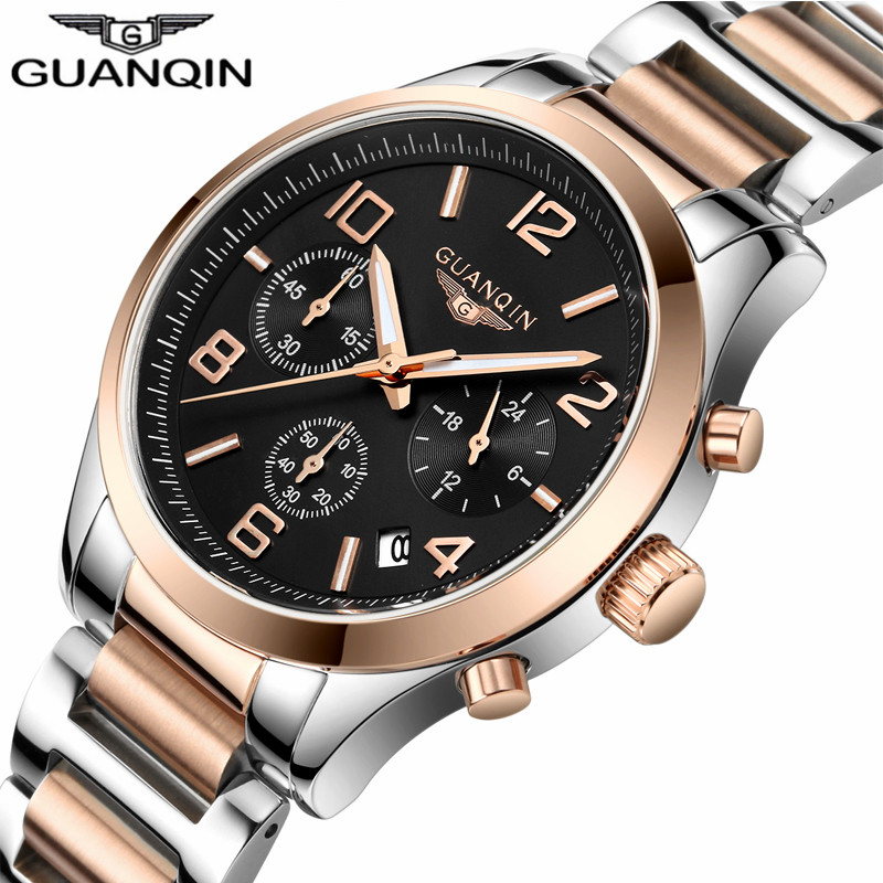ФОТО Luxury Brand GUANQIN Chronograph Watch Business Quartz Men Watches Date Luminous Wristwatcesh Mens Stainless Steel Clock Reloj